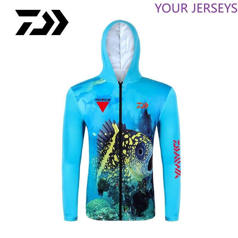 Spor ve Eğlence'ten Balıkçılık Giysileri'de Daiwa erkek kapüşonlu hızlı kuru nefes balıkçılık gömlek uzun kollu profesyonel yürüyüş bisiklet spor güneş koruyucu elbise DAIWA title=