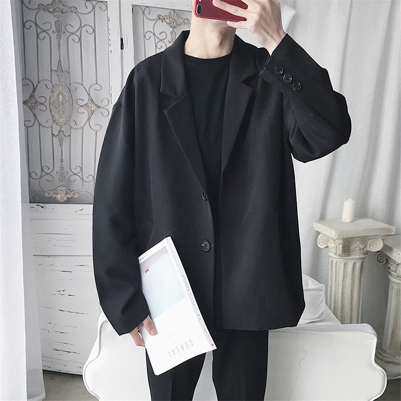 2019 Autumn Men's Leisure Loose Coat High Quality Outerwear Single Western Clothes Suit Jackets Black/grey Casual Blazers M-2XL