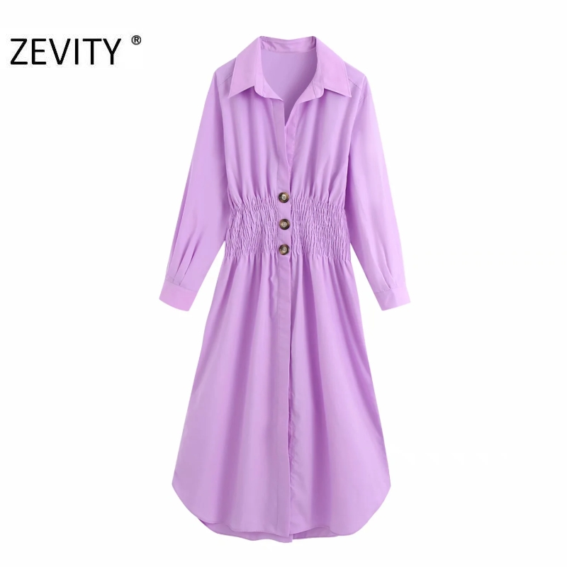 ZEVITY women autumn solid color elastic waist shirt dress female long sleeve vestidos chic single breasted casual dresses DS4245