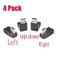 4 Pack USB 3.0 A cavo di prolunga maschio-femmina adattatore ad angolo retto A 90 gradi