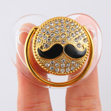 цена на Bling Mustache Silicone Baby Pacifier Funny Baby Soothers Orthodontic Nipple Infant Baby Halloween Christmas Gift