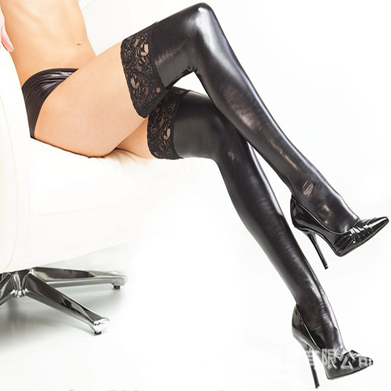 2019 New Sexy Latex Stockings Lady's Black PVC Pole Dance Lace Stockings Leather Erotic Clubwear Length 85cm Micro Mini Stocking