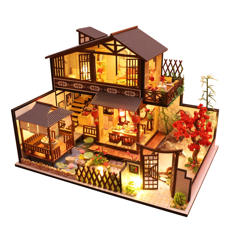Diy Doll House Furniture Diy Case Miniature Wooden Miniaturas Dollhouse Toys For Children Birthday Gifts Chinese Style P002