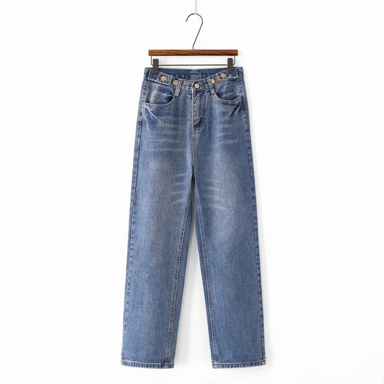 D2-6998 Unisex High-waisted Straight-leg Pants Women's Button Ornaments Casual Jeans BF AliExpress