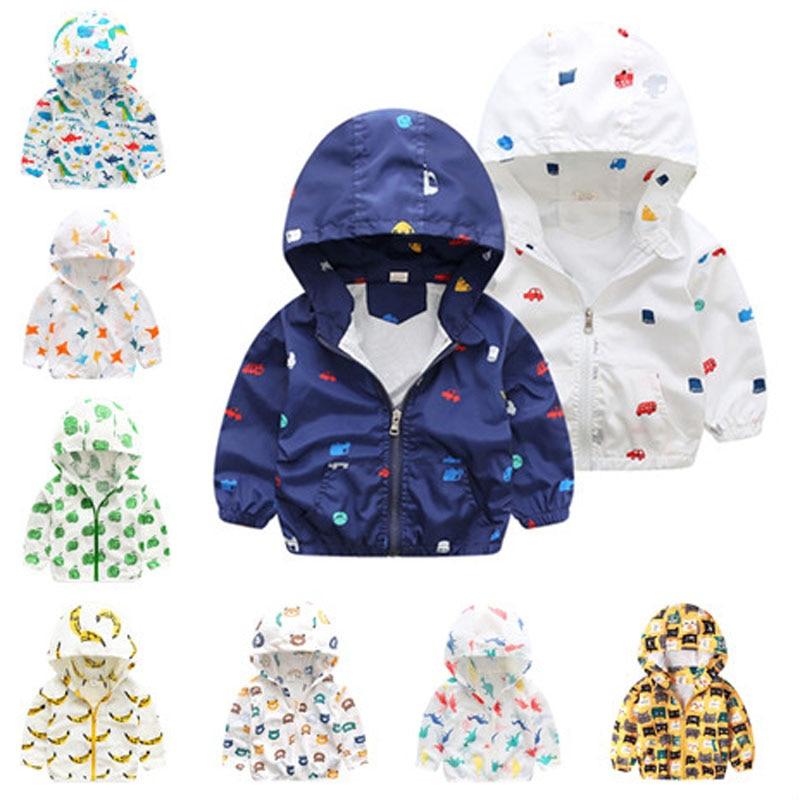 Baby Boys Thin Jackets Sunscreen Children Hooded Windbreaker Cartoon Kids Clothes Animal Print Coat Infant Girls Sun-proof Tops