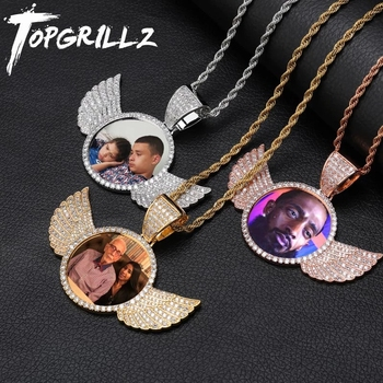 TOPGRILLZ Gold Custom Made Photo With wings Medallions Necklace & Pendant 4mm Tennis Chain Cubic Zircon Men's Hip hop Jewelry