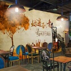 3D Молодежная тема обои крутые ретро ностальгические индивидуальные фрески Ресторан интернет кафе KTV фоновые обои