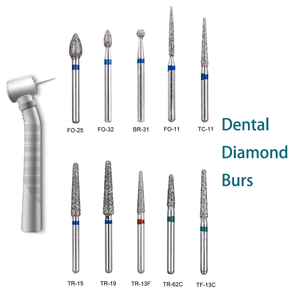 10PCS Dental Diamond Burs Drill Dentistry Burs High Speed Handpiece Handle Diameter 1.6mm Dentist Tools Dental Materials BR-31