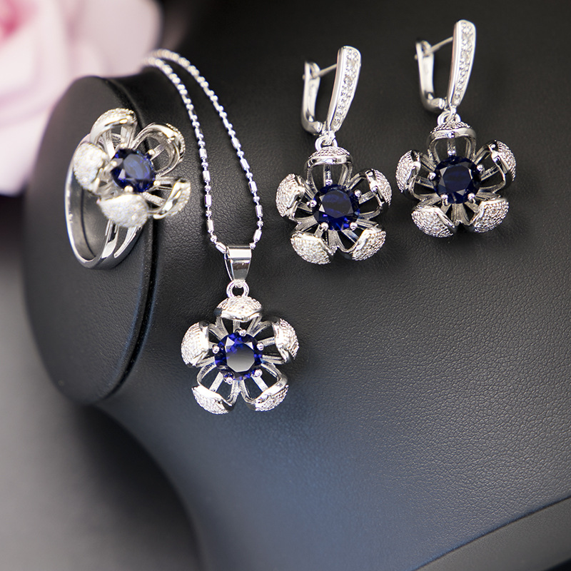 GZJY Women Wedding Bridal Crystal 925 Silver Jewelry Sets Flower Earrings Necklace Pendant Ring Sets for Christmas Party Gift(China)