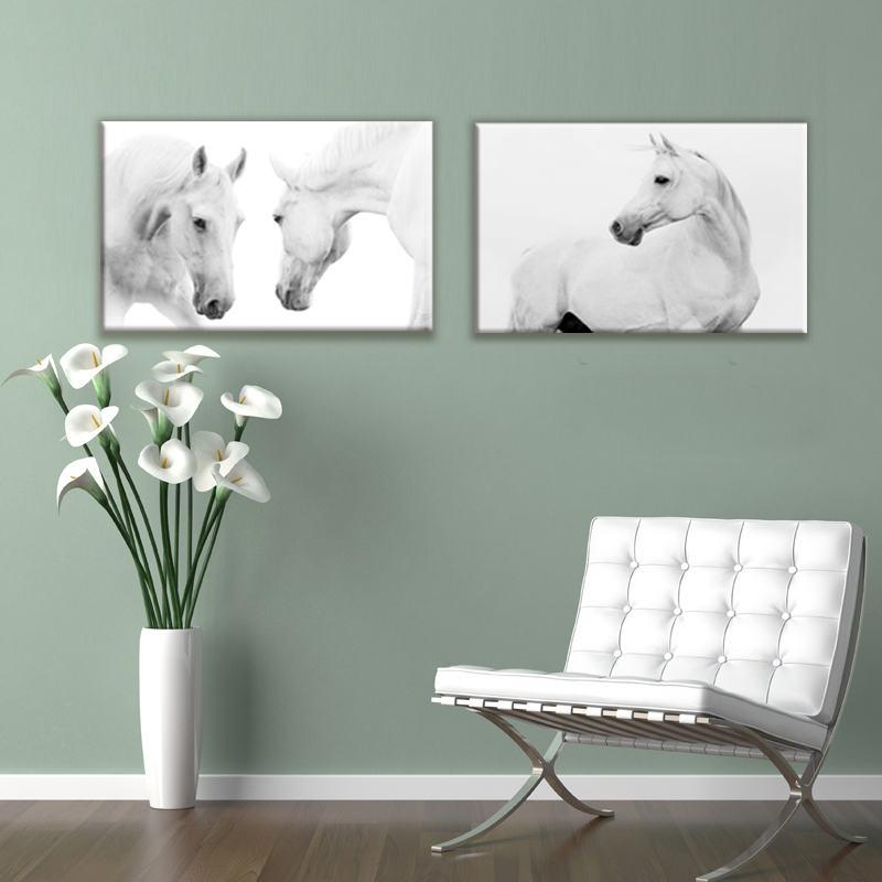 Fotografie z bílého koně Moderní minimalistické koně Obrazy na plátně Umělecké tisky pro obývací pokoj Domácí kancelář Dekor Zvířecí umělecká díla