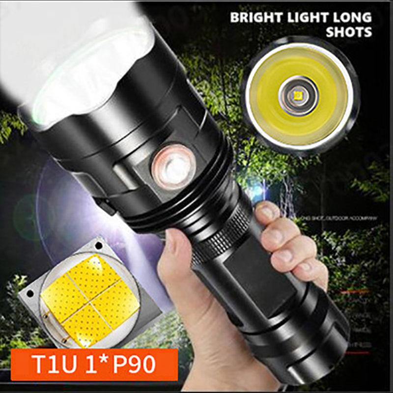 High Power P90 LED Flashlight Ultra Bright Torch 6 Switch Modes Waterproof USB Rechargeable Floodlight Outdoor Camping Lights