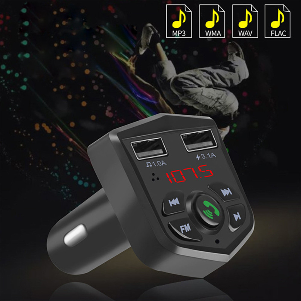 New Car Charger For IPhone Mobile Phone Handsfree <font><b>FM</b></font> <font><b>Transmitter</b></font> <font><b>Bluetooth</b></font> Car Kit <font><b>LCD</b></font> <font><b>MP3</b></font> <font><b>Player</b></font> Dual USB Car Phone Charger image