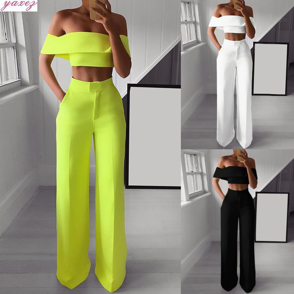 African Women Summer Sexy Fashion Solid Off Shoulder Ruffle Shirt Button Zipper Wide Leg Long Pants Suit Two Piece Set Suit