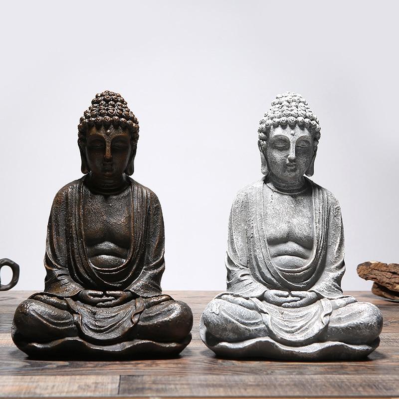 Vintage Sitting Buddha Statue Zen Gesture Thai Buddha Figurine Sculpture Home Office Outdoor Garden Decoration Ornament Crafts