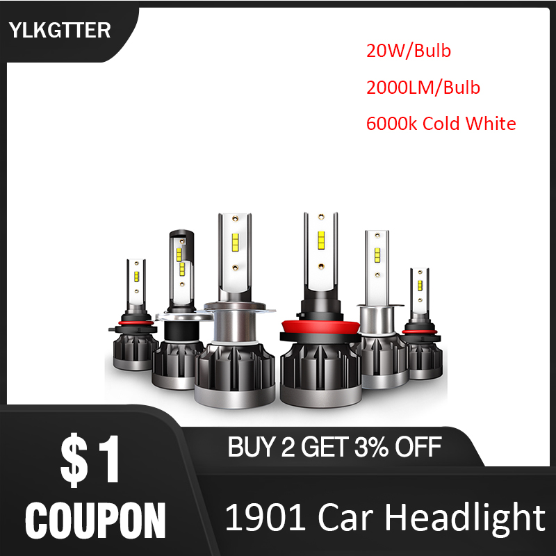 YLKGTTER 50000 Hours Long Uselife 1901 LED Car Headlight <font><b>H7</b></font> H11/H8/H9 9005/HB3/H10 9006/HB4 H4/HB2/9003 20W <font><b>2000Lm</b></font> 2Bulbs Inside image