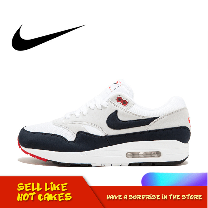 Original Authentic New Arrival Nike AIR MAX 1 ANNIVERSARY Mens Running Shoes Good Quality Cozy Sneakers Sport Outdoor 908375-104