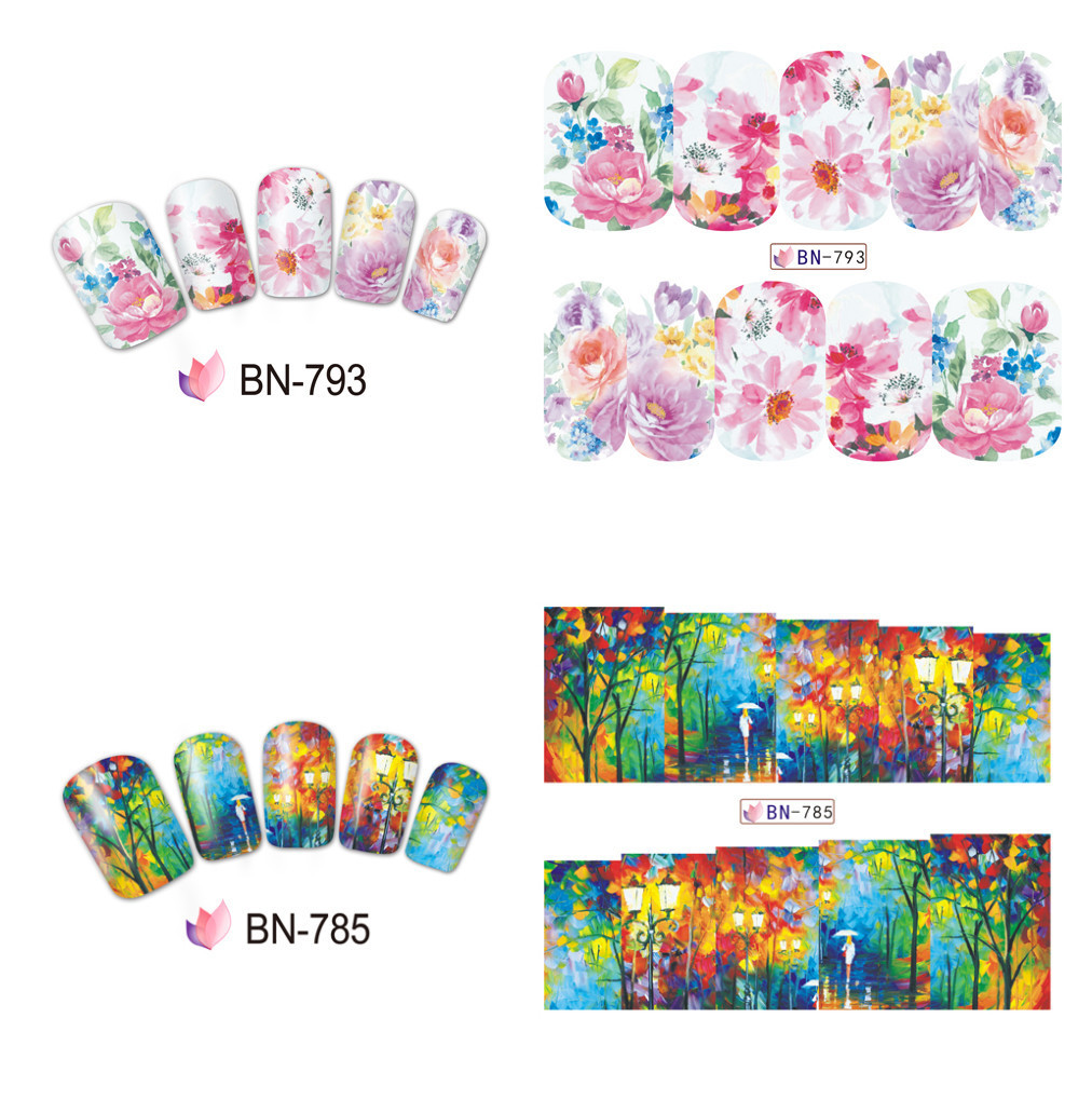 BN781-816 Watermark Nail Sticker Environmentally Friendly Manicure Stickers Flower Environmentally Friendly Nail Sticker Have Cu