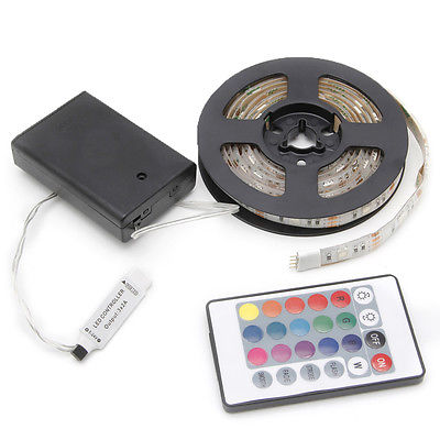 RGB 50-200cm 5050 Waterproof Flexible Lamp Led Strip Light + 24 Keys Remote 40JE