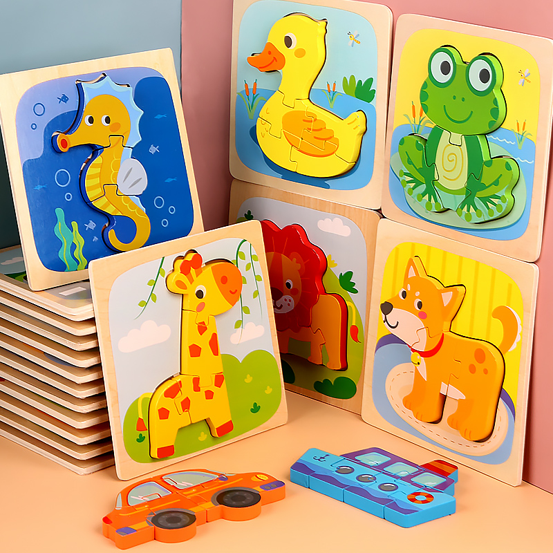 3D Jigsaw Puzzle Cartoon Animals Wooden Toy Learning Toys For Children Car Animals Fish Set Puzzles Montessori Educational Toys