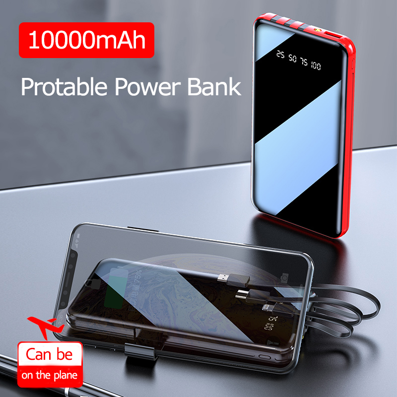 Portable <font><b>10000</b></font> <font><b>MAh</b></font> Power Bank Full Screen Built-in 3 USB Powerbank Fast Charging External Battery for all phone image