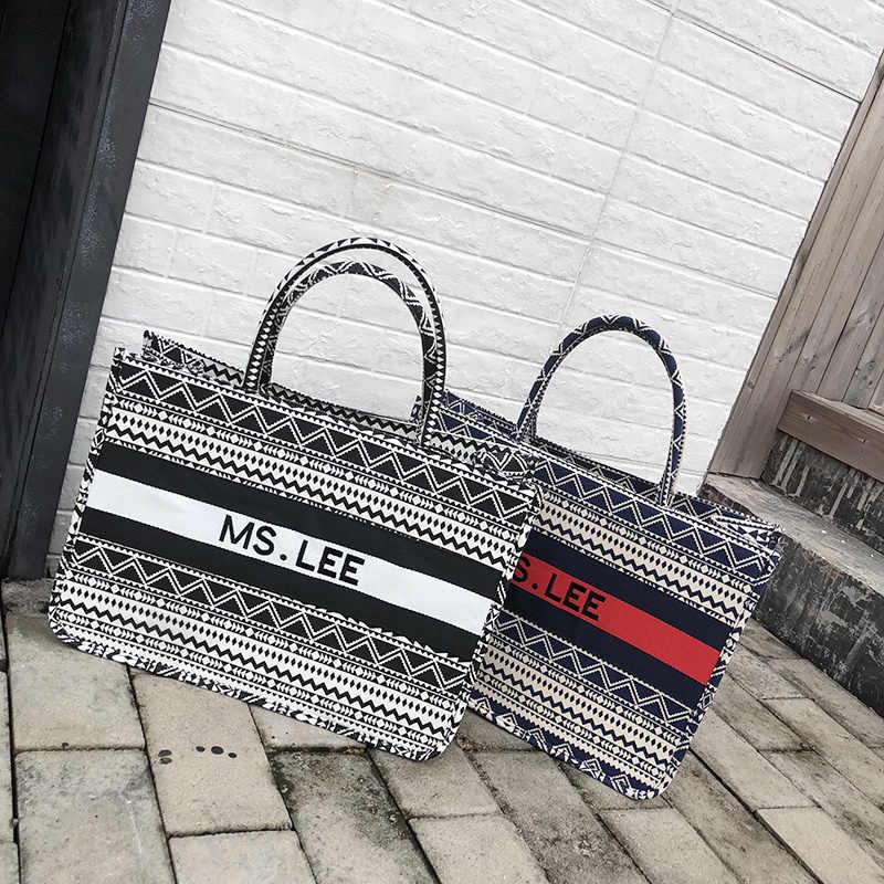 Женская сумка-тоут, полосатая Высококачественная Холщовая Сумка на плечо, Роскошная большая сумка для покупок, богемная сумка в национальном стиле для женщин 2019