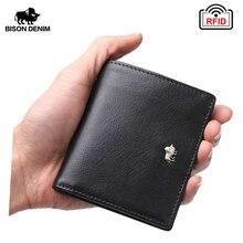 Бизон джинсовые короткие Бумажники для Для мужчин Настоящая кожа бумажник Для мужчин отделение для монет держатель карты кошелек мини небольшой бумажник Бизнес подарок