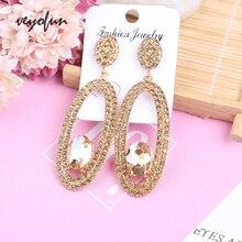 Veyofun Hollow out Round Rhinestone Eardrop Earrings for Women Elegant Crystal Dangle Earrings Jewelry Brinco stylish rhinestone hollow out elastic bracelet for women