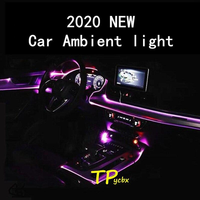 Светодиодная подсветка для салона автомобиля, декоративный Rgb светильник для салона автомобиля, с дистанционным управлением через приложе...
