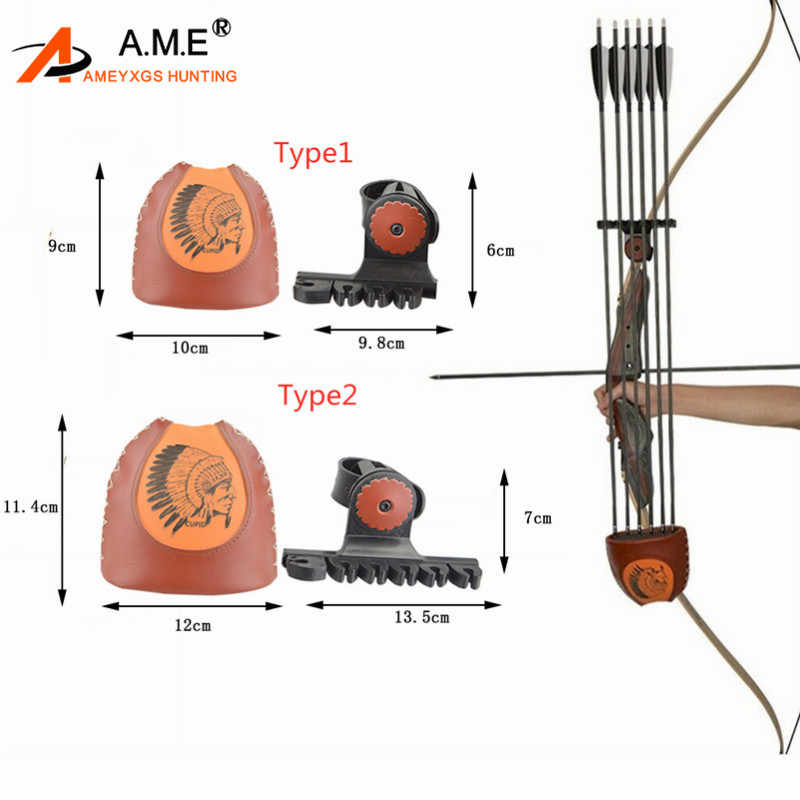 Archery Portable Quick Quiver Release Recurve Bow Leather 4//6 Arrows Shooting