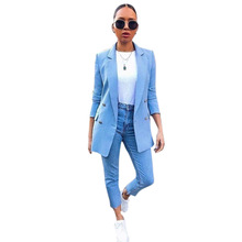 Blazer For Women Candy Color Mid-long Suit Jacket One Button Long Sleeve Loose C