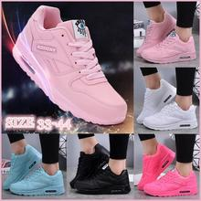 Women Fashion Sneakers Air Cushion Sports Shoes Pu Leather Blue Shoes White Pink Outdoor Walking Jogging Shoes Female Trainers