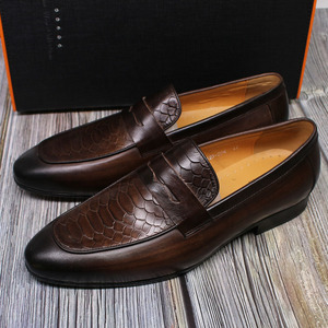 Image 5 - FELIX CHU Luxury Mens Loafer Shoes Genuine Leather Snake Print Wedding Party Casual Men Dress Shoes Slip On Footwear Comfortable