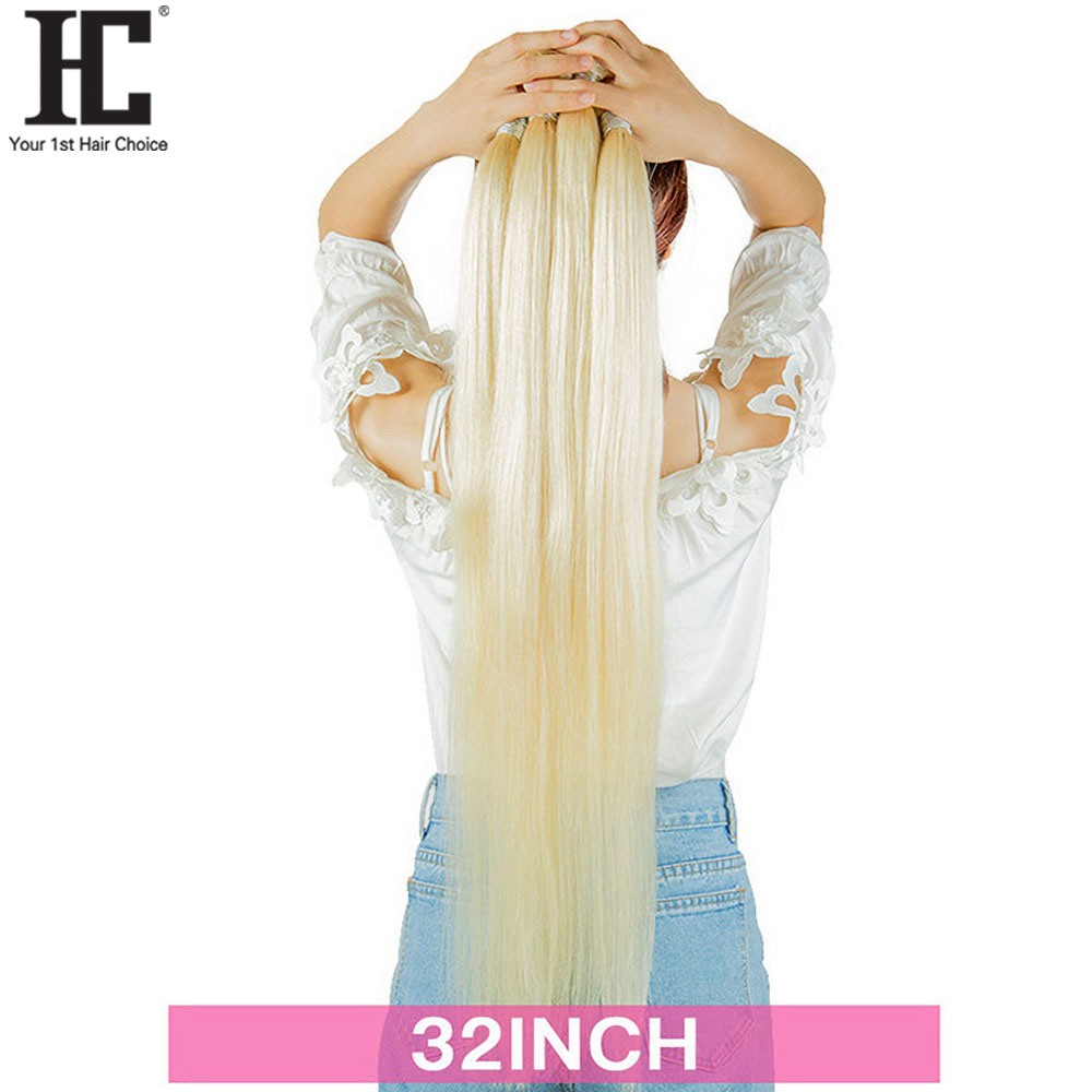 32 34 36 38 40 Inch Peruvian 613 Blonde Straight Human Hair Weave Bundles 1 / 3 / 4 Pcs Blonde Human Hair Extensions Remy