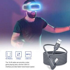 Image 3 - 5M קו נתונים עבור צוהר Quest 2 קישור אוזניות USB 3.0 סוג C נתונים טעינת כבל העברת סוג C כדי USB A כבל VR אבזרים
