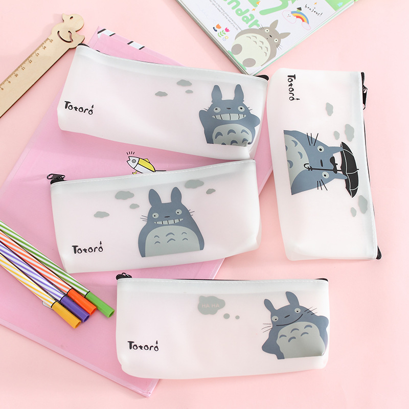 Creative Stationery Simple Small Fresh Cute Cartoon Totoro Pencil Bag Large Capacity Jelly Gel Pen Female Pencil Case Supplies