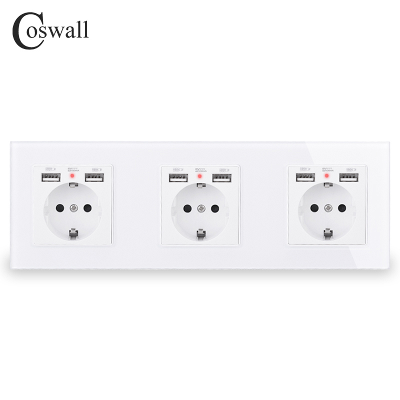 COSWALL 2/3/4/5 Gang Russia Spain EU Standard Wall Socket + Dual USB Charge Port Hidden Soft LED Indicator Glass Panel