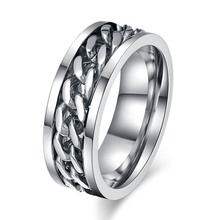 8MM Wide Spinner Rings Stainless Steel Could Open Beer Bottle Cuban Link Chain Ring Men's Jewelry