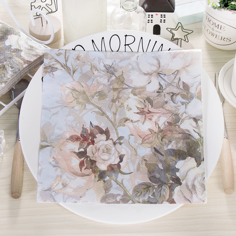2020 NEW 20pcs Flower Butterfly Paper Napkin Vintage Decoupage Placemats For Wedding Cafeshop Party Decoration Supplies
