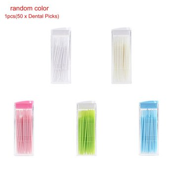 Portable Double Head Brush Tooth Picks Plastic Interdental Toothpick Brush 50 PCS Hotel Denta.l Picks Oral Care image