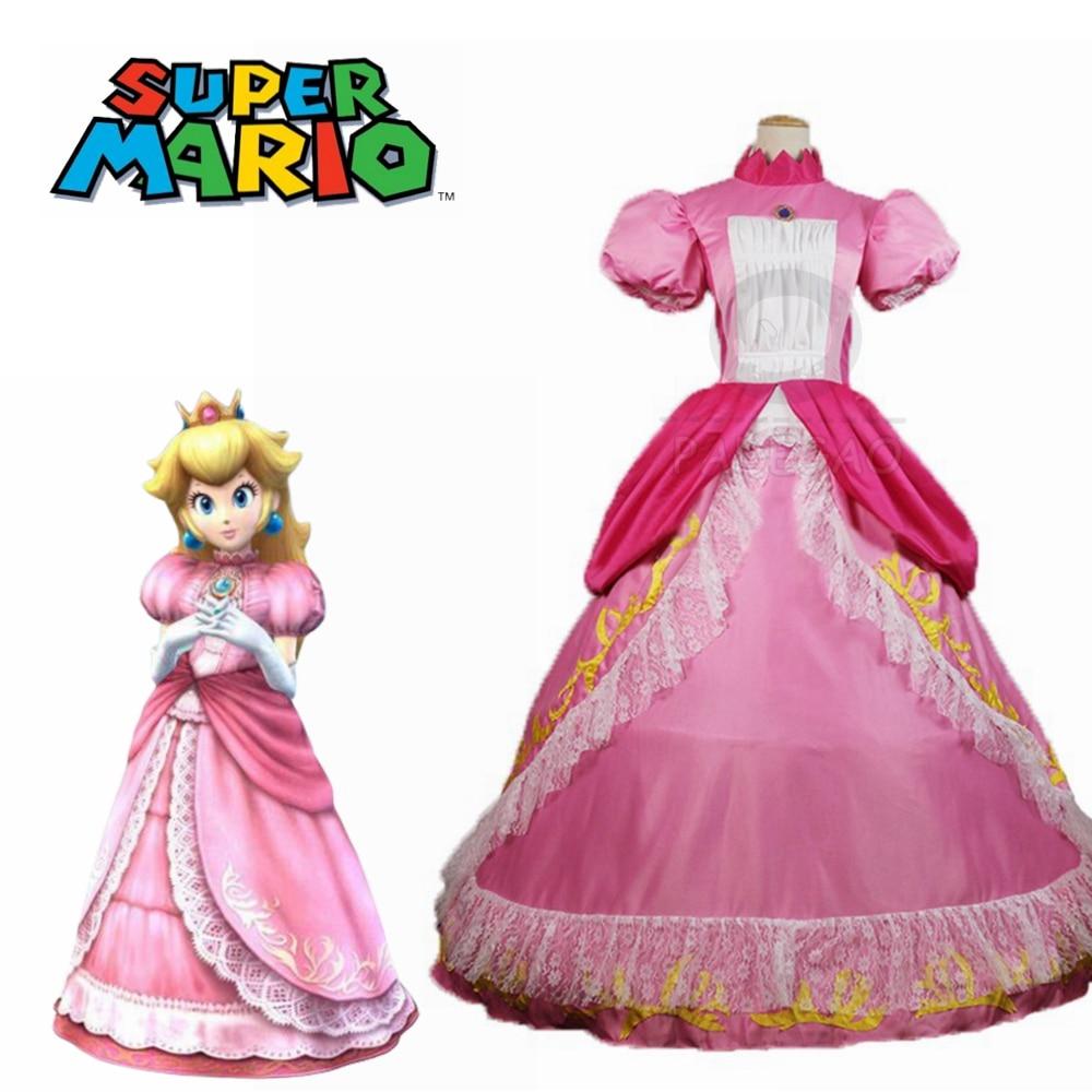 Top Quality Super Mario Peach Princess Dress Cosplay Costume For Adult Women Halloween Costume Dress Custom Made