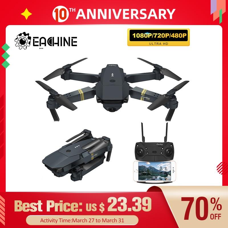 Eachine E58 WIFI FPV con gran angular cámara HD 1080P Modo de retención de altura brazo plegable RC Quadcopter Drone X dron Pro RTF para regalo HGIYI G11 GPS RC Drone 4K HD Cámara Quadcopter flujo óptico WIFI FPV con 50 veces Zoom plegable helicóptero Drones profesionales