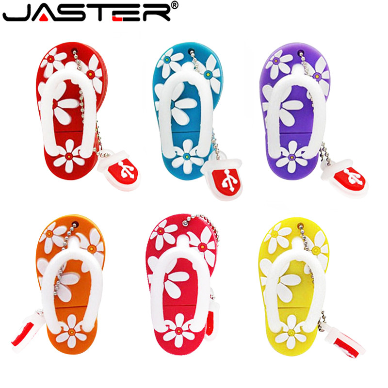 JASTER USB Flash Drive Fashion Hot Selling Creative U Disk 2.0 64GB 32GB 16GB 8GB 4GB Cartoon Flower Slippers Real Capacity