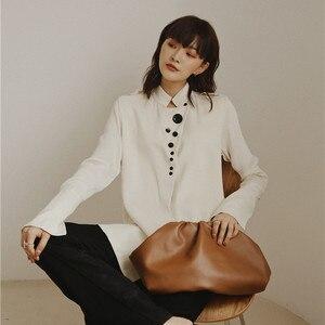 Image 4 - Cheerart designer topos blusa de cetim manga longa botão up gola camisa feminina moda senhoras blusa outono 2019