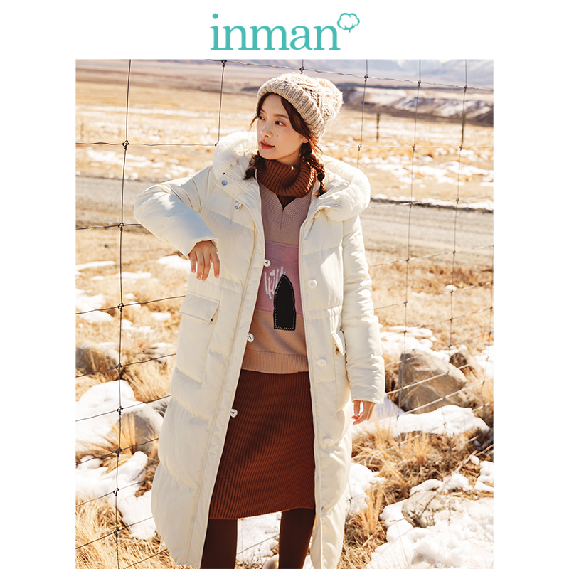 INMAN Autumn Winter Hooded Fur Collar Causal Long Style Women Outerwear Warm Women Long   Down     Coat