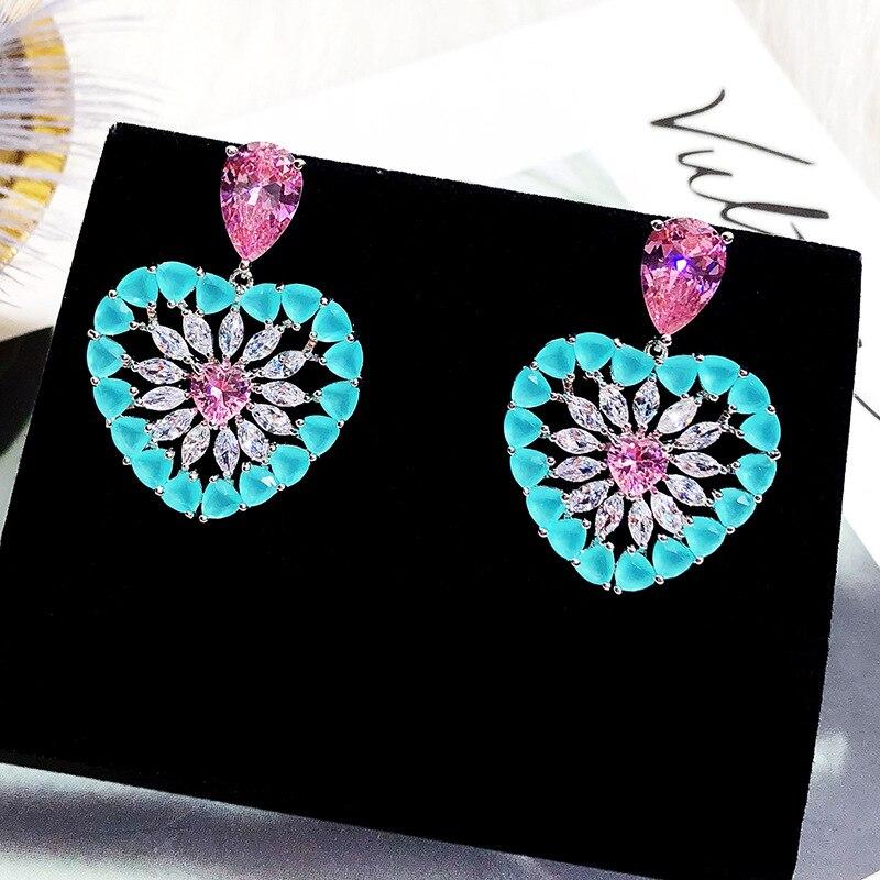 Earrings Fashion Jewelry Women 's Earrings Needle Hollow Love Earrings Korean Earrings Gold 925 Silver Stone Fine Zircon 018020