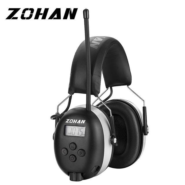 ZOHAN 디지털 AM/FM 라디오 귀 Muffs 전자 귀 보호 소음 전문 청력 보호기 라디오 헤드폰 취소