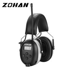 ZOHAN Digital AM/FM Stereo Radio Ear Muffs Electronic Ear Protection for Mowing Professional Hearing Protector  Radio Headphone