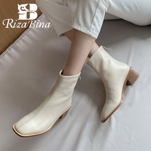 Warm Boots Zipper-Shoes RIZABINA Heel Thick Real-Leather Fashion Women Footwear Ankle