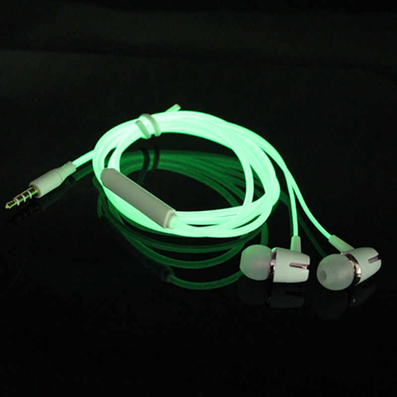 Luminous Headset 3.5mm Plug Wired Glowing Earphone with Mic Volume Control Bass Earbud for IPhone Samsung Huawei Xiaomi Phone Pc