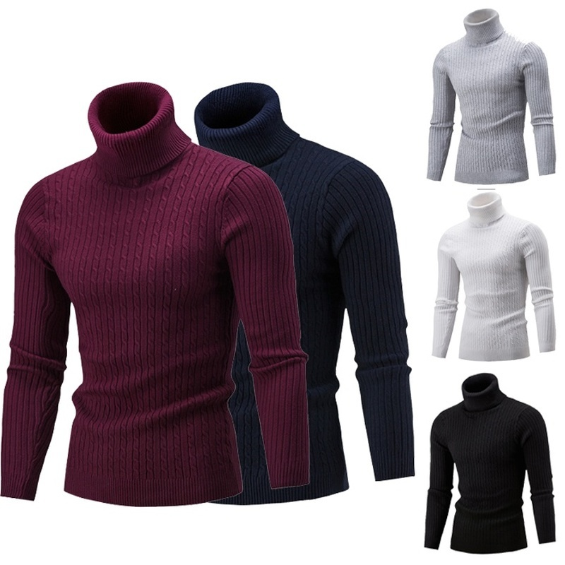 ZOGAA Autumn Winter Men's Sweater Men's Knitted Turtleneck Pullovers Solid Twist Bottoming Slim Sweater Male High-necked Jumpers